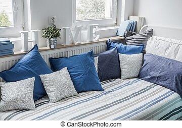 bleu, blanc, ensemble, literie