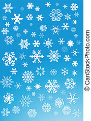 bleu, blanc, flocons neige, fond