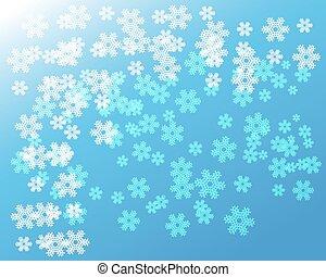 bleu, blanc, flocons neige, fond, noël