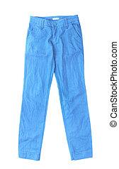 bleu, blanc, jean, isolé, fond