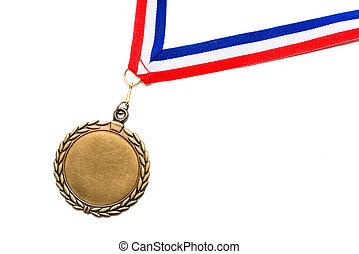 bleu, blanc, médaille, ruban, rouges
