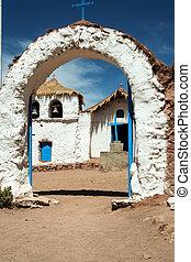 bleu, blanc, mexicain, église