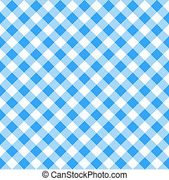 bleu, blanc, plaid, nappe