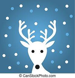 bleu, blanc, renne, flocons neige, fond