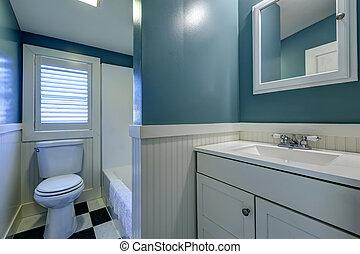 bleu, blanc, salle bains, interior.