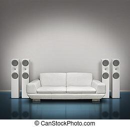 bleu, blanc, salle musique
