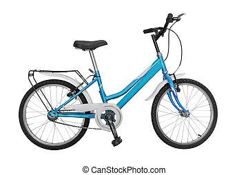 bleu, blanc, vélo, isolé, fond