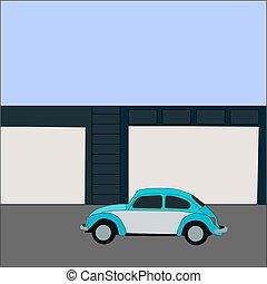 bleu, blanc, voiture, arrière-plan., vecteur, illustration