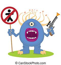 bleu, blaster, monstre
