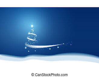 bleu, blizzard., neige, arrière-plan., étoiles, noël