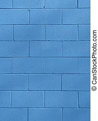 bleu, bloc de mâchefer, mur, ba