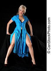 bleu, blond, robe