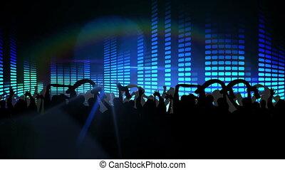 bleu, boîte nuit, lumières