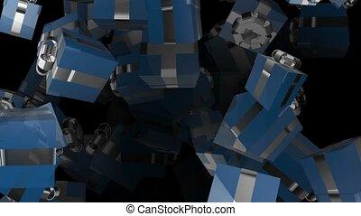 bleu, boîtes, voler, cadeau, silve