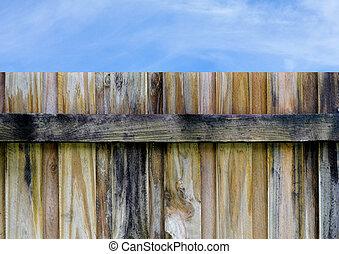 bleu, bois, ciel, barrière, intimité