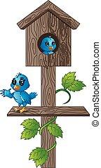 bleu, bois, dessin animé, oiseau, boîte lettres
