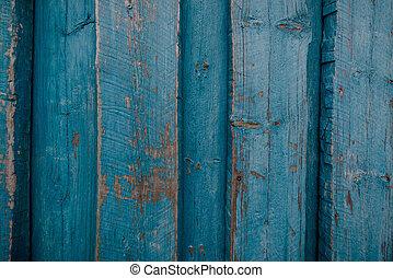 bleu, bois, fond, porté, planches