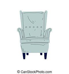 bleu, bois, lumière, illustration, amorti, vecteur, jambes, vendange, conception intérieur, élément, fauteuil, tapisserie ameublement, meubles