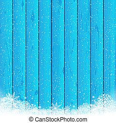 bleu, bois, noël, fond, neige