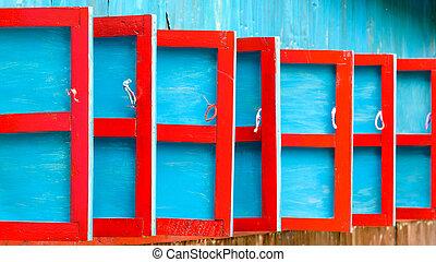 bleu, bois, rouges, volets