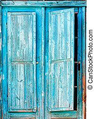 bleu, bois, vieux, volets