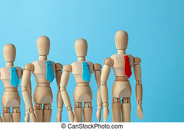 bleu, bon, business, goal., pattes, droit, équipe, cravate, ties., éditorial, rouges