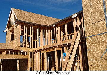bleu, bon, ciel, nouveau, construction, sous, maison