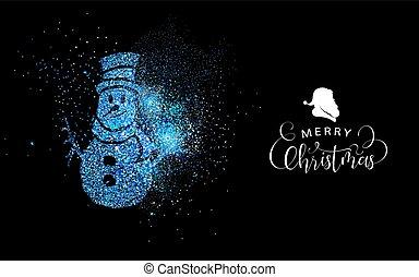 bleu, bonhomme de neige, forme, joyeux, scintillement, noël carte