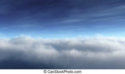 bleu, boucle, cloudscape, voler