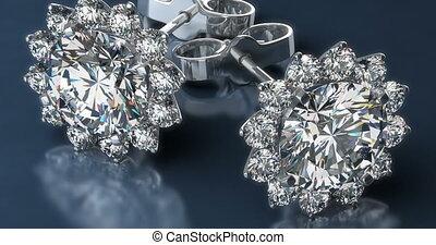bleu, boucles oreille, précieux, diamant, fond