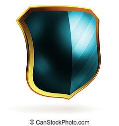 bleu, bouclier, eps, vecteur, item., gabarit, 8