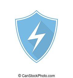 bleu, bouclier, illustration, éclair, vecteur, icon.