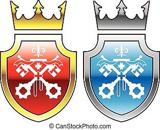 bleu, bouclier, royal, rouges, couronne