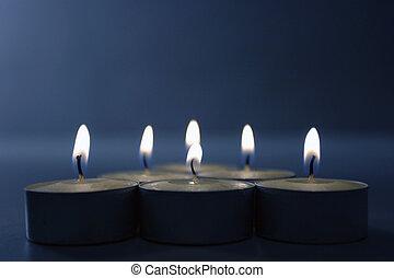 bleu, bougies