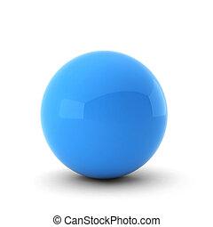 bleu, boule blanche, render, 3d