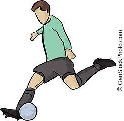 bleu, boule football, arrière-plan., lignes, isolé, illustration, joueur, vecteur, noir, blanc, tir