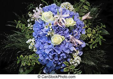 bleu, bouquet, hortensia, fleurs