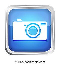 bleu, bouton, appareil photo, numérique, icône