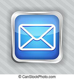 bleu, bouton, email, icône
