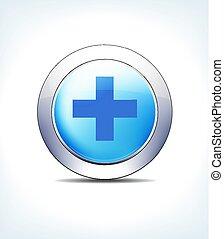 bleu, bouton, hôpital, croix, vecteur, icône