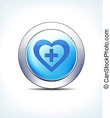 bleu, bouton, hart, plus, vecteur, icône