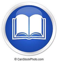 bleu, bouton, livre, lustré, rond, icône