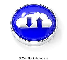 bleu, bouton, lustré, rond, nuage, icône