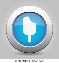 bleu, bouton, métal, glace, crosse, crème