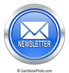 bleu, bouton, newsletter, icône