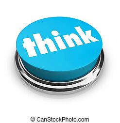 bleu, bouton, -, penser