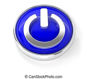 bleu, bouton puissance, lustré, rond, icône