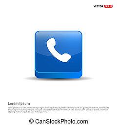 bleu, bouton, -, récepteur téléphone, icon., 3d
