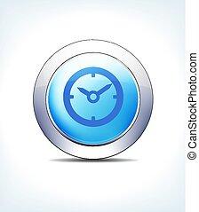 bleu, bouton, rendez-vous, temps, assistance, horloge, vecteur, icône