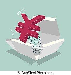 bleu, box., symbole, isolé, arrière-plan., yuan
